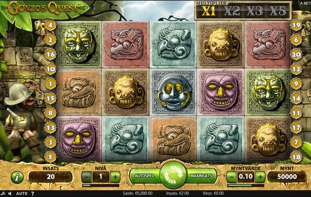 Gonzo's Quest kan spelas på Videoslots!