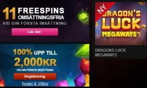 Klicka här för att spela Dragon's Luck Megaways nu på Videoslots!